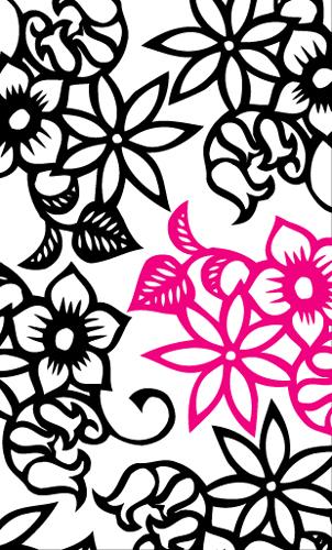 印象的な花のイラストのアートフル名刺