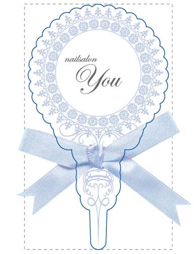 かわいい リボン名刺のデザイン NI-RI-098
