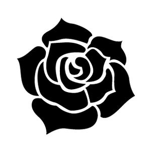 大きなバラ柄がインパクトのある正方形名刺